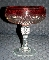 Vintage Indiana Glass Diamond Point Ruby Flash Compote