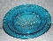 L.E Smith Glass Colonial Blue American Eagle Ashtray