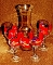 Red Hat Society Hand Painted Glass Wine Carafe Goblet Set