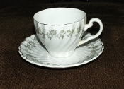 Johnson Brothers Snowhite Regency Floral Vine Cup Saucer Set