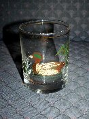Culver Green Winged Teal Duck Double Old Fashion Glass