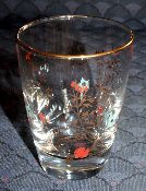 Libbey Gold Red & Blue Floral Juice Glasses
