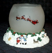 Pfaltzgraff Snow Village Sculptured Resin & Glass Candle Holder