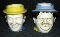 Vintage Laurel & Hardy Hand Painted Character Mugs