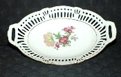 Germany U.S. Zone Dresden Flowers Reticulated Oval Bowl