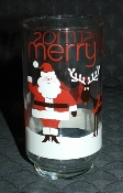 Libbey Glass Santa & Rudolph Merry Christmas Tumblers