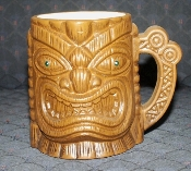 Quon-Quon Orchids of Hawaii Tiki Mugs Green Jewel Eyes