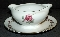 Diamond China Moss Rose Gravy Boat Attached Underplate