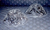 Bohemian Crystal Etched Whirling Star Domed Candle Holders