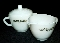 Federal Glass Golden Harvest White Milk Glass Cream & Sugar Set