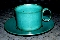 Bennington Potters Vermont Green Blue Teal Speckle Cup & Saucer