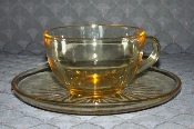 Federal Glass Star Yellow Glass Cup & Saucer Sets