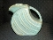 Alamo Pottery Sculptured Aqua Tan Glaze Disc Pitcher