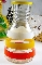 Hazel Atlas Orange Yellow & White Enamel Striped Juice Decanter