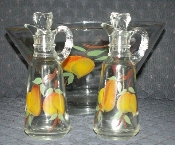 Anchor Hocking Gay Fad Fruits Cruets & Salad Bowl Set