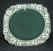 Harker Pottery Cameo Ware Teal Floral Band Dessert Plates
