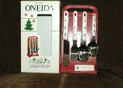 Oneida Holiday Colormates Holiday Flatware Service For Six Caddy