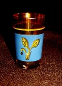 Marigold Carnival Glass Wheat Juice Glasses