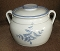 Red Wing Pottery Stoneware Blue Leaves Bean Pot