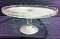 Jeannette Glass Harp Cake Stand Salver Gold Trim