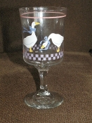Libbey Country Geese Pink Heart All Purpose  Goblets