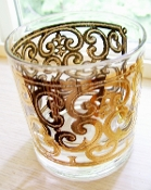 Georges Briard Spanish Gold Eames Era Double Old Fashion Glasses