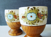 Nevco Japan Walnut & Ceramic Hand Painted Egg Cup Set