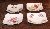 Royal Adderley Four Floral Bone China Pin Dish Coaster Set