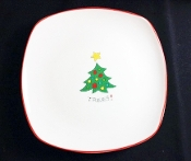 Fitz & Floyd Gourmet Christmas Happy Holidays Tree Plate