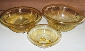 Federal Depression Glass Amber Golden Glo Mixing Bowl Set