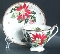 Queen Anne Bone China Noel Poinsettia Cup Saucer Sets