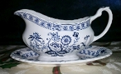 Meakin Nordic Blue Onion Gravy Boat With Underplate