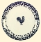 Tienshan Blue Sponge Animal Rooster Dinner Plates