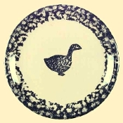 Tienshan Blue Sponge Animal Goose Dinner Plates